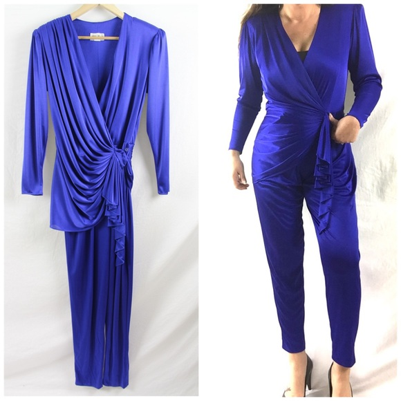 66f8092ae Vintage Pants | 80s Electric Blue Jumpsuit Sz 6 Abby Kent | Poshmark